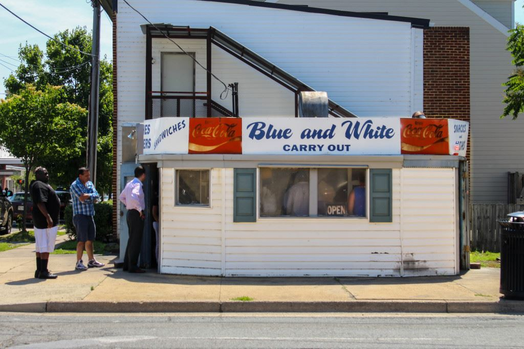 Blue and White Carry Out