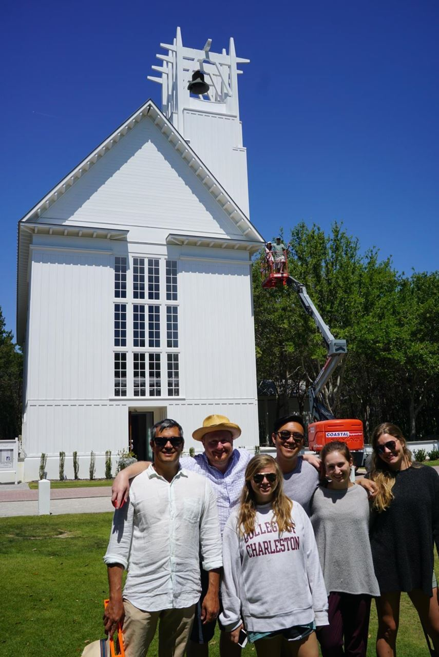 Figure 2-College of Charleston faculty and students at the Seaside Interfaith Chapel, designed by Scott Merrill, 2001. Photo courtesy of Mark Gessler.