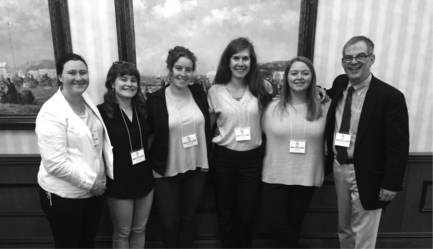 UO students Allison Geary, Kate Geraghty, Charlotte Helmer, Morgan Albertson, and Hayli Reff with UO Historic Preservation Program Director Jim Buckley at the VAF Two Utahs conference, May 2017