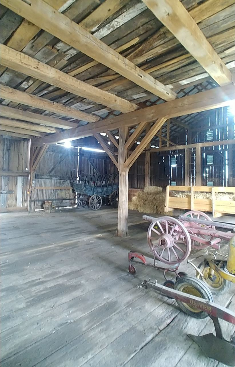 "The Pollins Barn at Sewickley Manor Farm will be on-tour on Sunday as part of the drive-on-your-own tour. It has lathe-turned posts supporting the forebay, and inside are ""double Y"" braces on the center bents. The property has been in the same family for seven generations, it is in a really idyllic spot in Westmoreland County's rolling farmland, with a mile of live-fence (osage orange hedges) and 18 extant historic buildings. Photo courtesy of Terry Necciai"